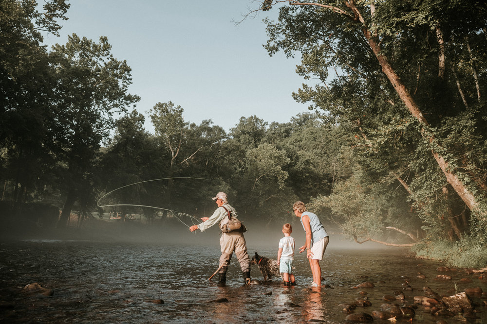 Fly fishing with Papaw and Mamaw   Watauga, TN
