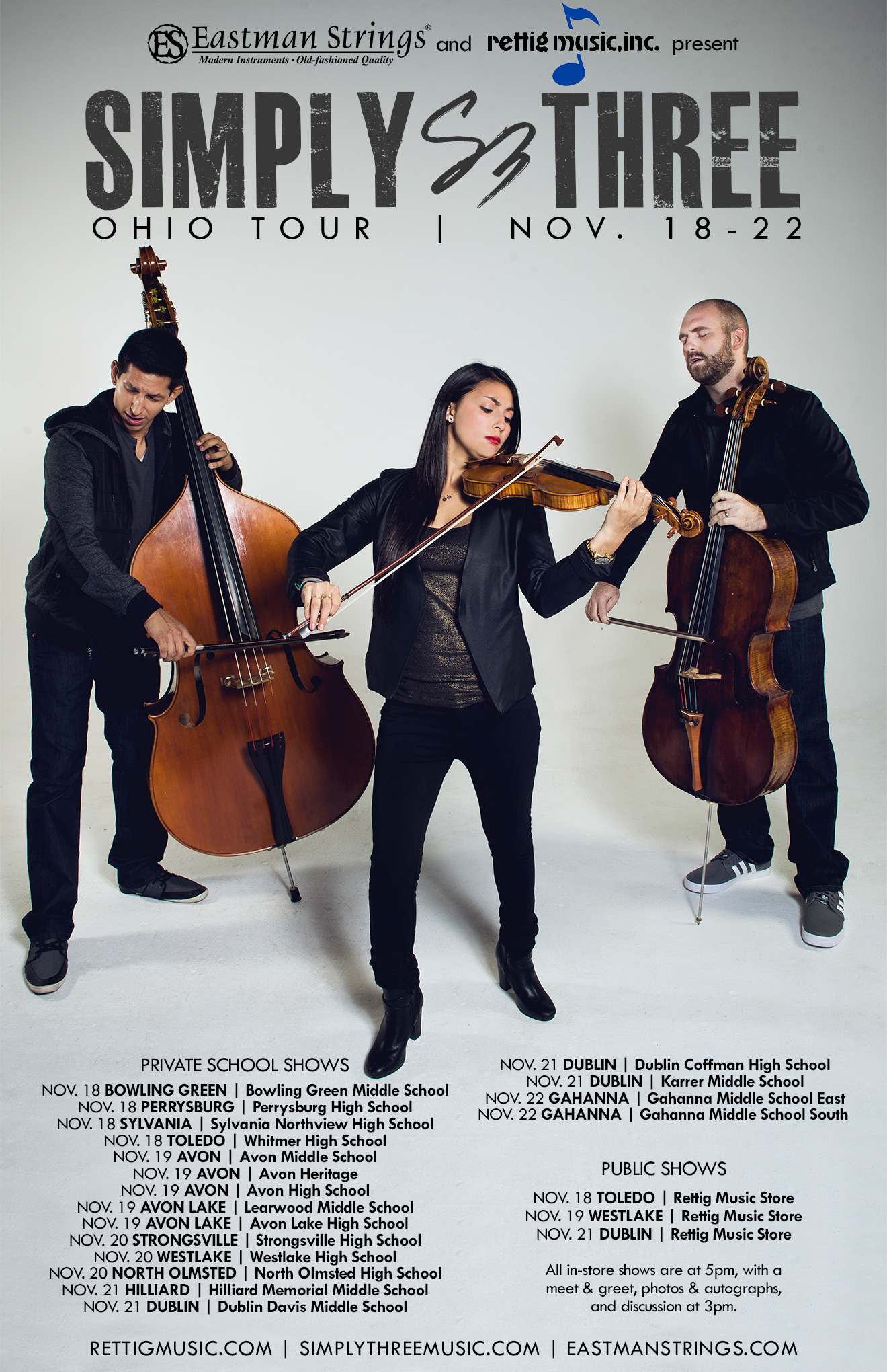 Eastman Strings and Rettig Music Present Simply Three Ohio Tour