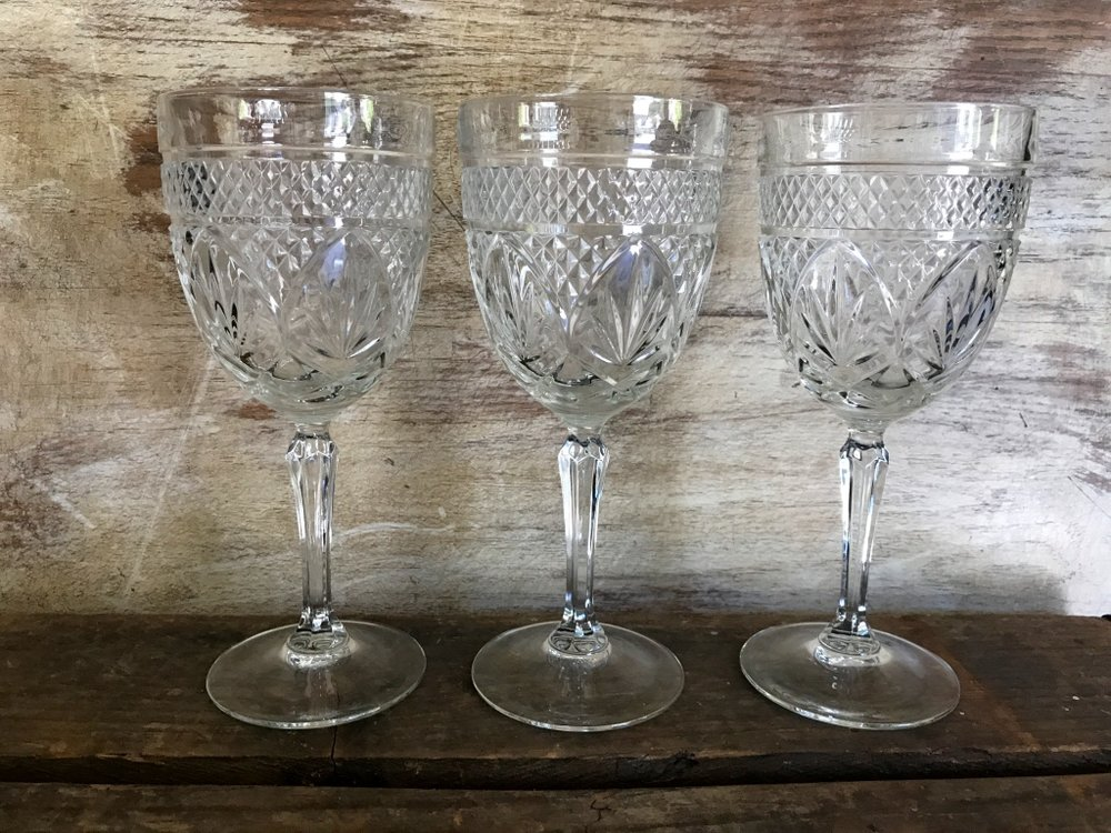 EAPC cut glass goblets. Water glasses, wine glasses, coupes Vintage mismatched rentals.