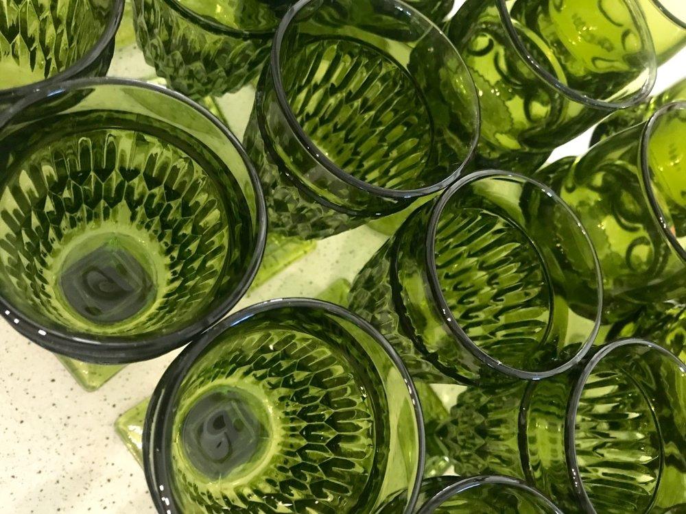 Mid-century modern mismatched vintage glasses and goblets