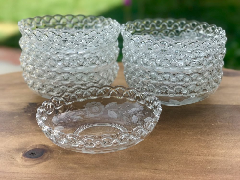 cut glass and crystal glass bowls. Mismatched. Soup bowls, punch bowls, salad bowls
