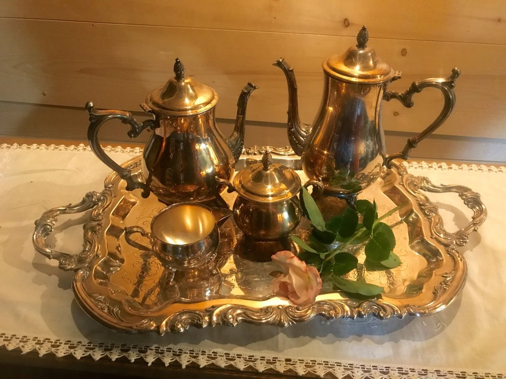 Shabby chic or polished vintage tea and coffee sets. Large silver tray with handles, coffee pot, tea pot, cream, sugar