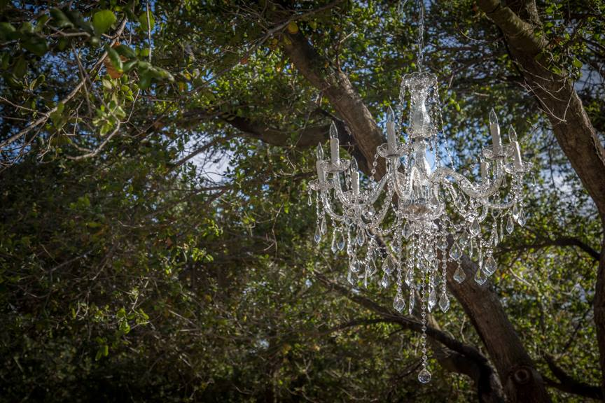 Crystal chandelier hung in the oak tree at Chateau Adare in Murrieta, California