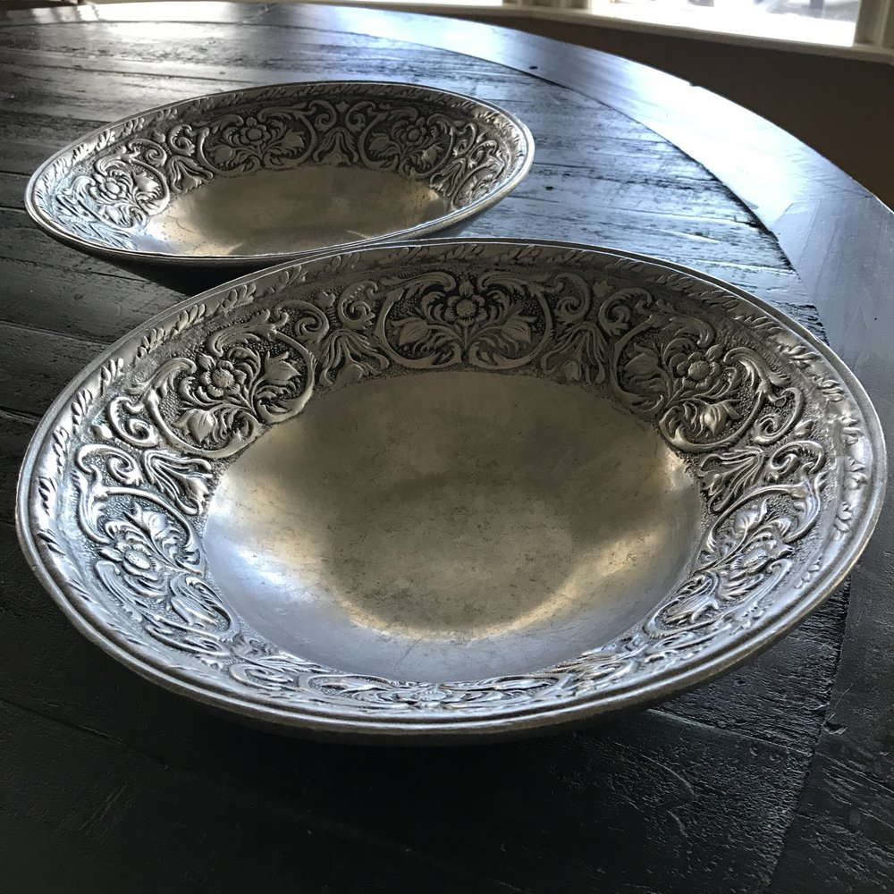 Vintage, mismatched silver plated, and silver bowls for rent in the Temecula Valley.