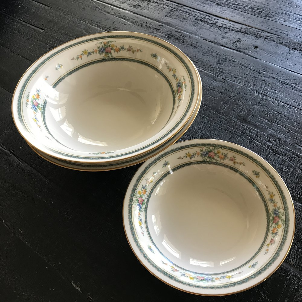 Assorted mismatched vintage china bowls of all sizes.  Rentals for weddings and other events.