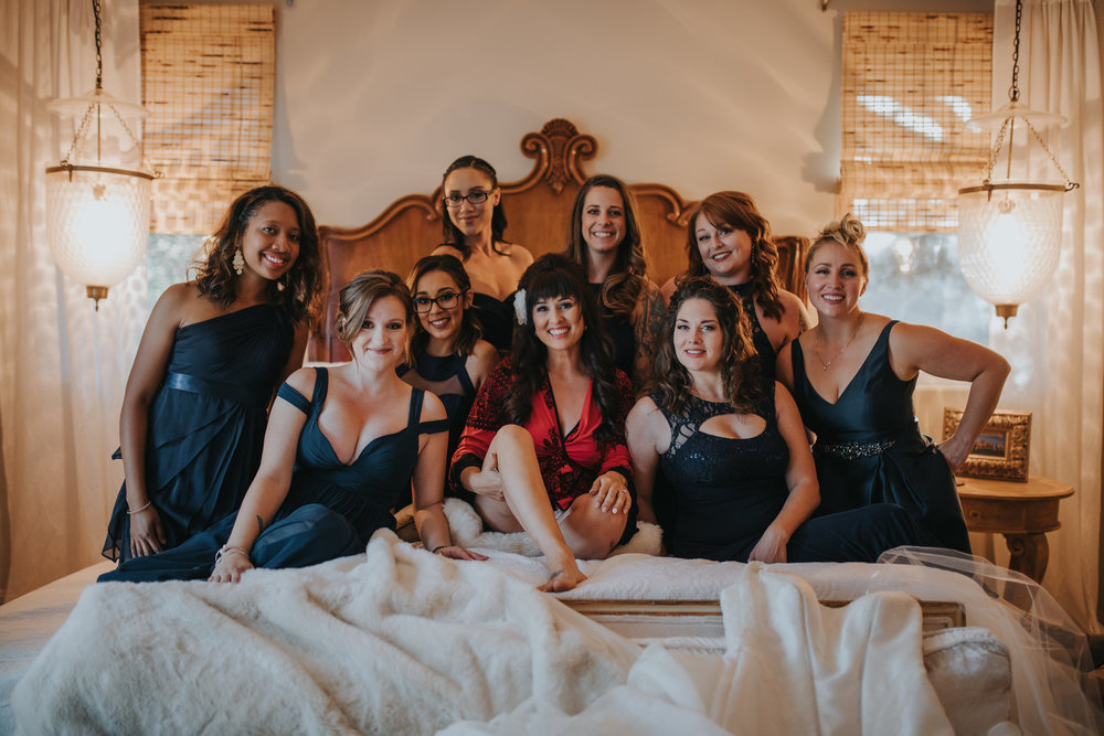 The bride and her bridesmaids in the bridal suite at Chateau Adare located in the Temecula Valley.