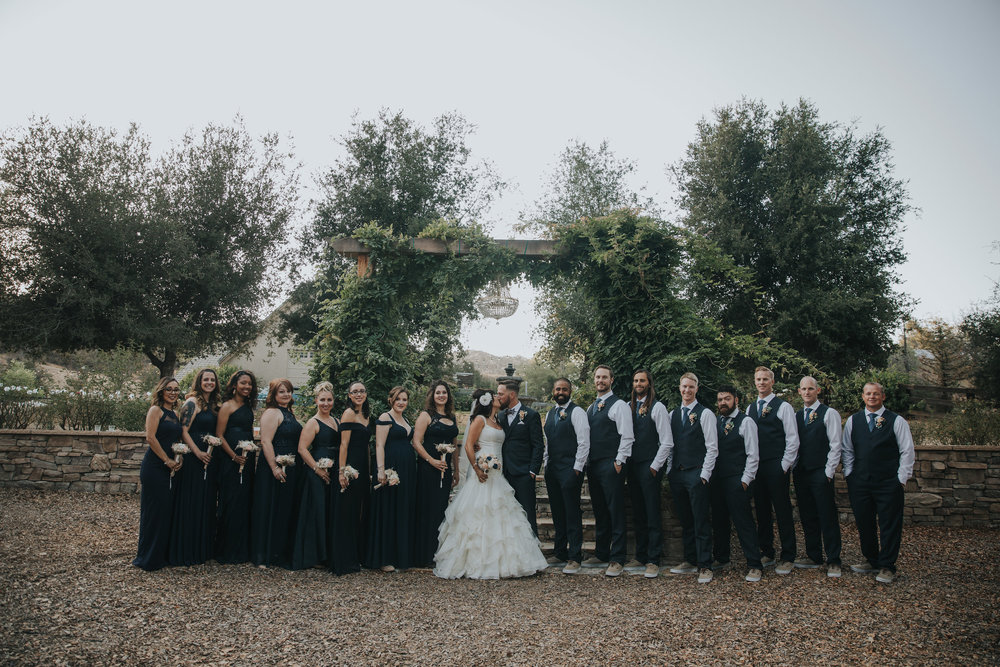 Large bridal party wearing navy dresses.  Bride wearing Zac Posen.  Chateau Adare Murrieta California.