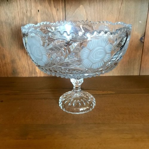 """Crystal Pedestal Bowl.   Flower etched heavy crystal bowl with decorative pedestal. Scalloped top. 10"""" round x 9"""" tall"""