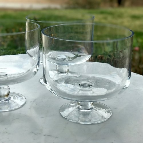 """Glass Trifle Bowl.    Clear glass bowls on a pedestal base. Great for anything from trifles to salads. 8"""" round x 8"""" tall"""