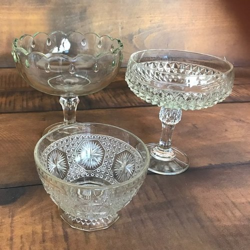 """Compotes or Candy Dishes.    Assorted cut glass pedestal bowls with various designs. Good for food or floral. 8"""" to 12"""" tall"""