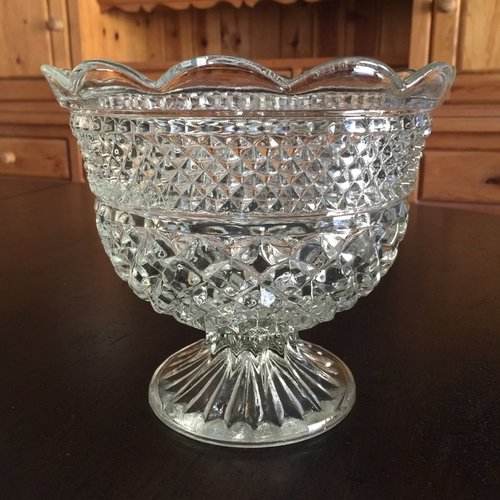 """Pedestal Cut Glass Bowl.    Fancy cut glass diamond pattern with ribbed pedestal base. Scalloped top. Food or floral. 7.5"""" tall x 8"""" round"""