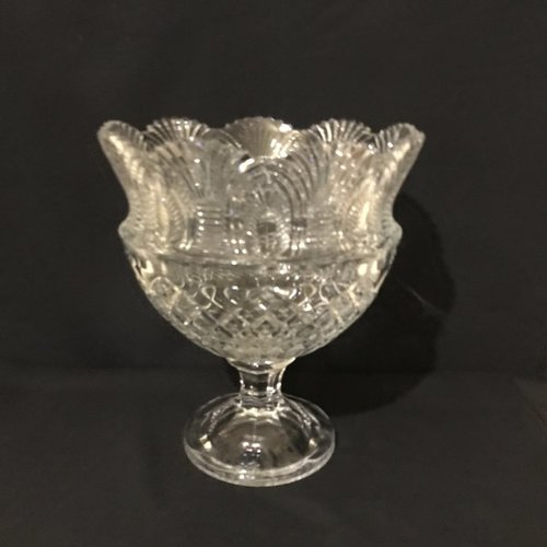 """Art Deco Compote.    Cut glass fan pattern on a decorative pedestal base. Good for food or floral. 10.5"""" round x 12"""" tall"""