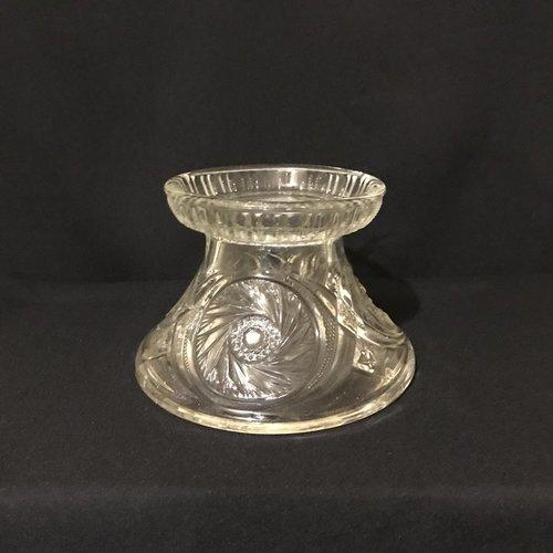 "Dandelion Punch Bowl Base.    Heavy cut glass punch bowl base in a Dandelion swirl pattern. 9"" round bottom. 6.5"" round top x 6"" tall."