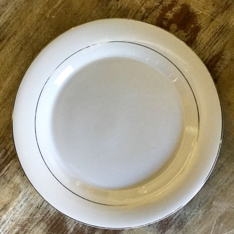 "Silver China Dinner Plate.    10""-11"" Dinner Plate. Mismatched."