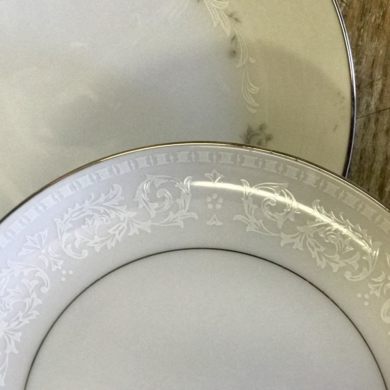 Vintage Silver and White Salad or Dessert plate. Mismatched. Rental.