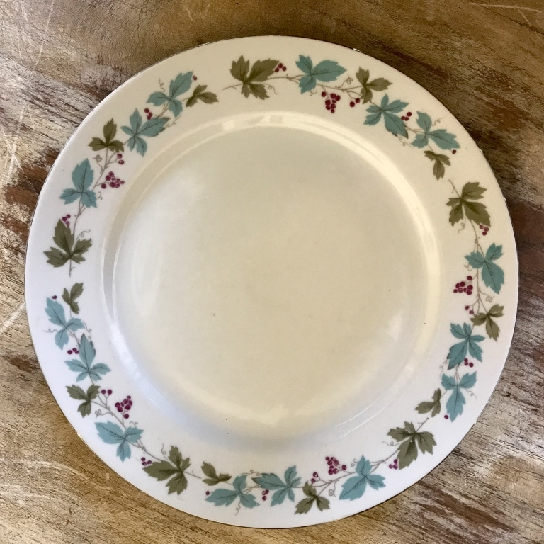 Temecula Valley wedding rentals. Vintage mismatched blue china dinner plates.