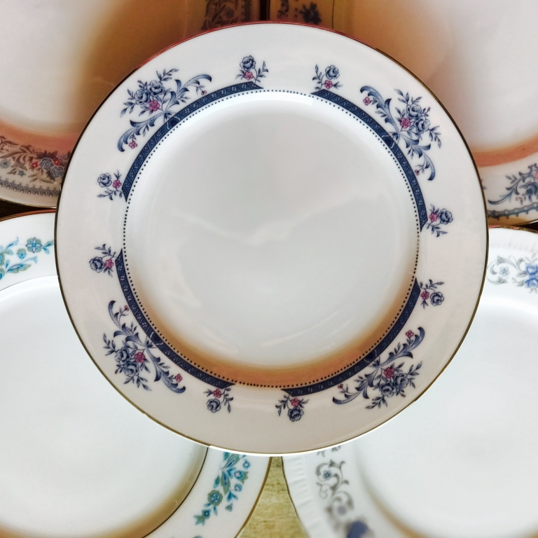 Mismatched rental vintage china for weddings and events.