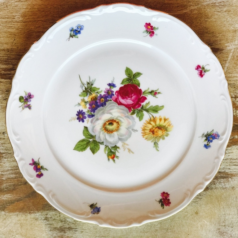 Vintage mismatched floral china dinner plate for rent in Murrieta.