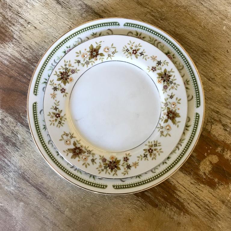 Hazelnut mismatched vintage china rentals in Murrieta.