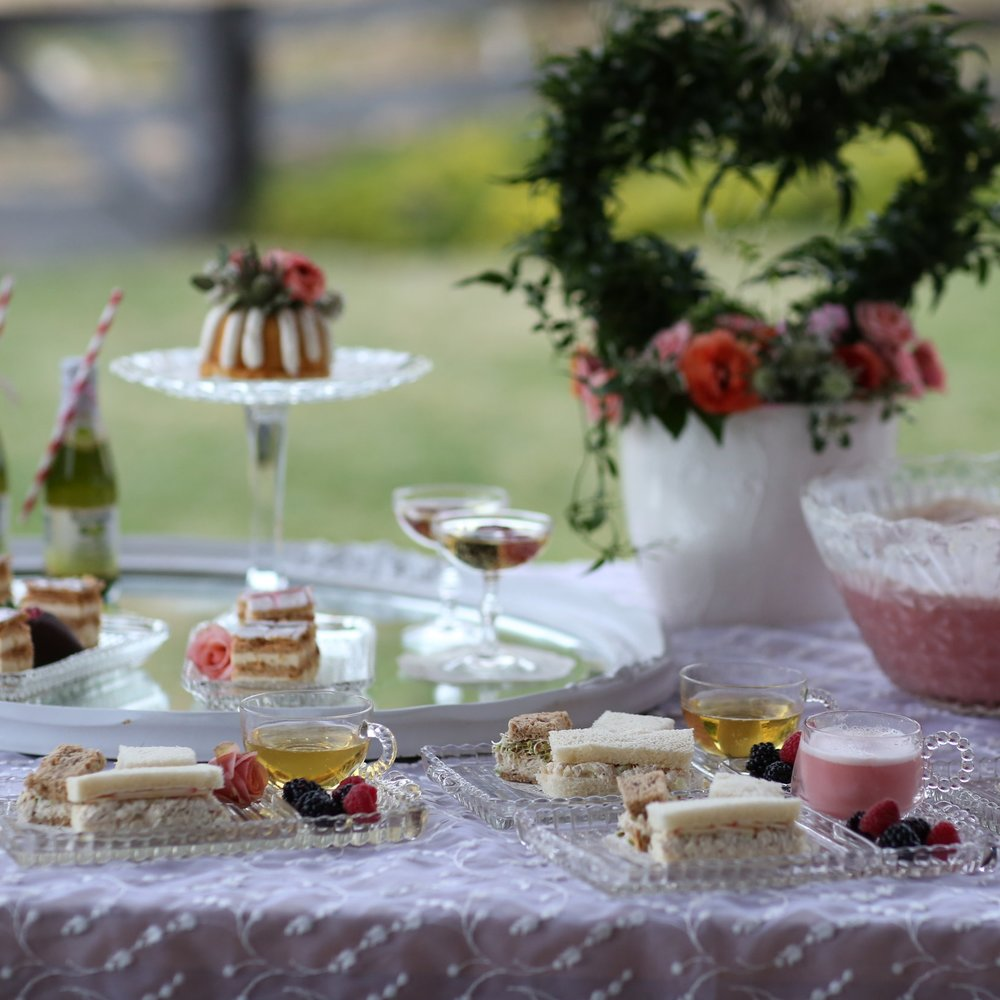 Snack sets are perfect for small sandwiches, desserts, cakes and finger foods.  Vintage Rentals in The Temecula Valley.
