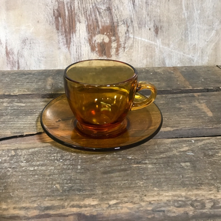 Amber Glass Cup and Saucer.    For that perfect cup of Joe.