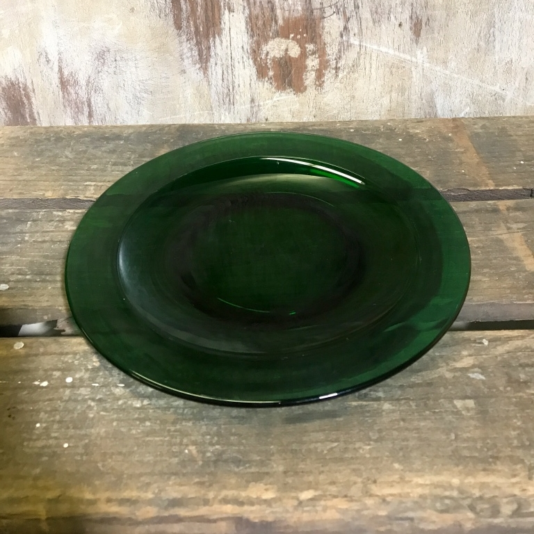 "Green Glass Salad Plate.   8"" salad plate. Anchor Hocking green."
