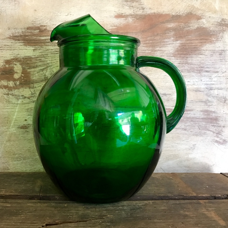 Green Glass Pitcher.   Anchor Hocking green water pitcher.