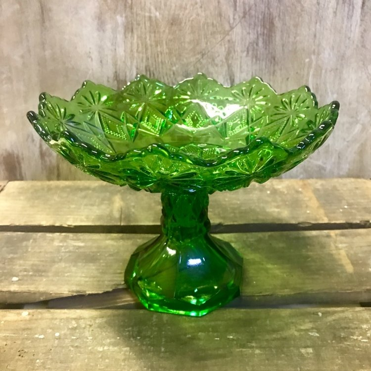 Green Glass Candy Dish.   Assorted candy dishes. Mismatched.