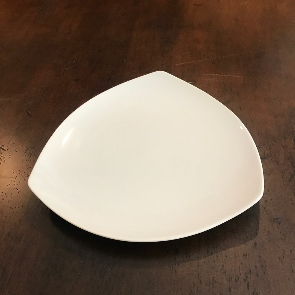 "Triangle Dinner Plate.    11.25"" Dinner plate. Contemporary styling. China."