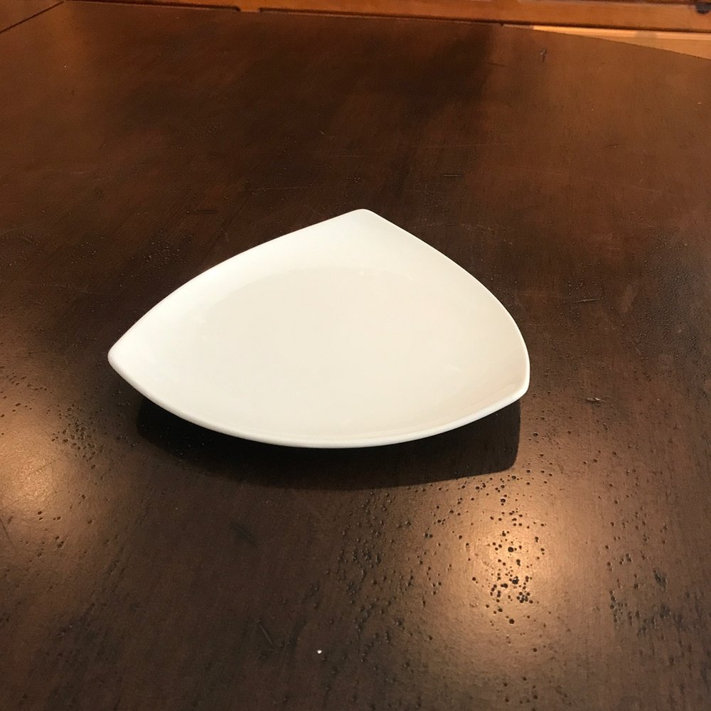 "Triangle Salad Plate.   8.25"" Salad Plate. Contemporary styling. China."
