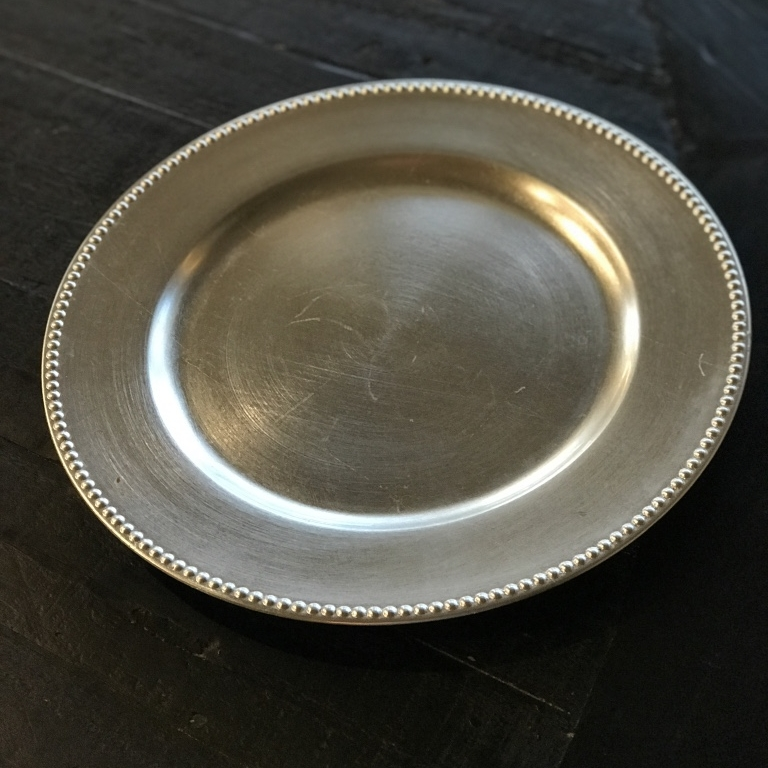 """Silver Charger Plate.    13"""" acrylic beaded edge charger. Mismatched."""