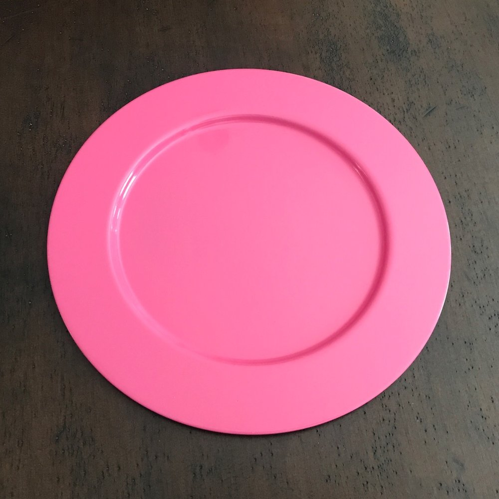 """Hot Pink Charger Plate.    12"""" round metal charger."""