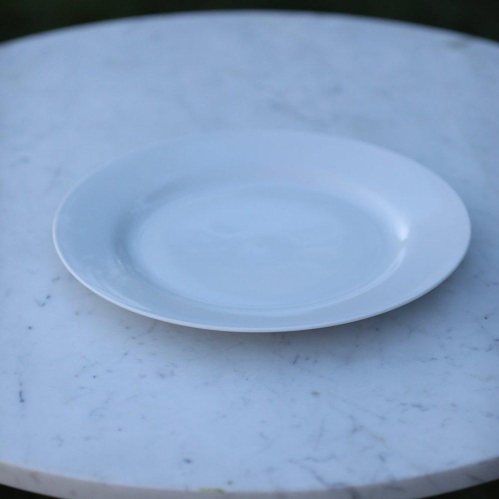 "White China Charger Plate.    12"" white bone china chop plate."