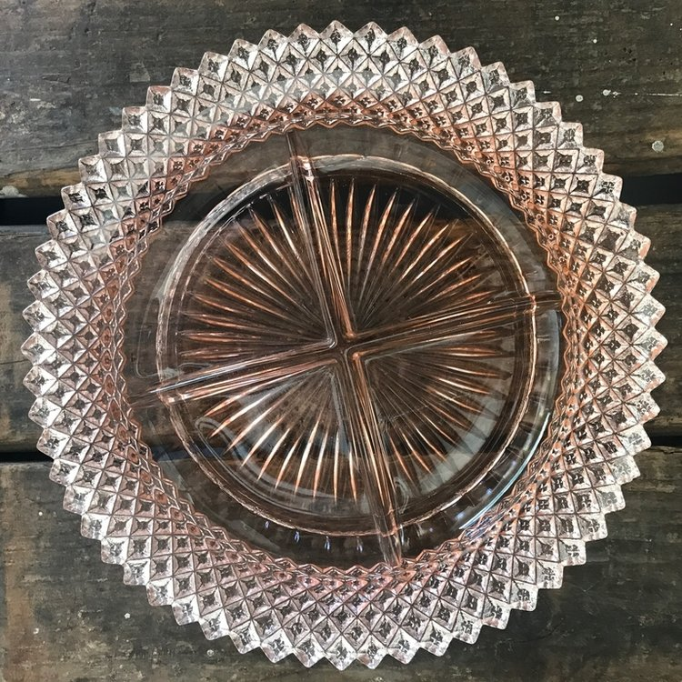 "Small Pink Glass Plate.    6"" round cut glass divided plate."