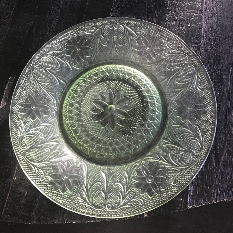 "Lime Green Dinner Plate    10"" Vintage Anchor Hocking cut glass dinner plate."