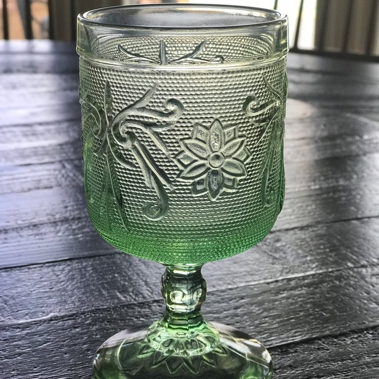 Lime green daisy pattern mid century modern cut glass goblet for rent in Murrieta.