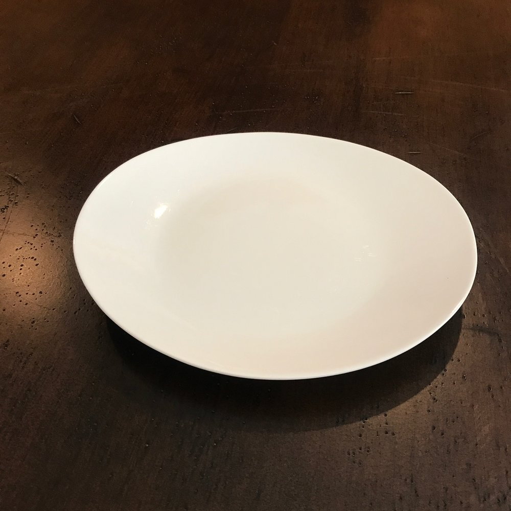 "White Oval Luncheon Plate    9""X7.75"" oval. Perfect for appetizers or luncheon plates."