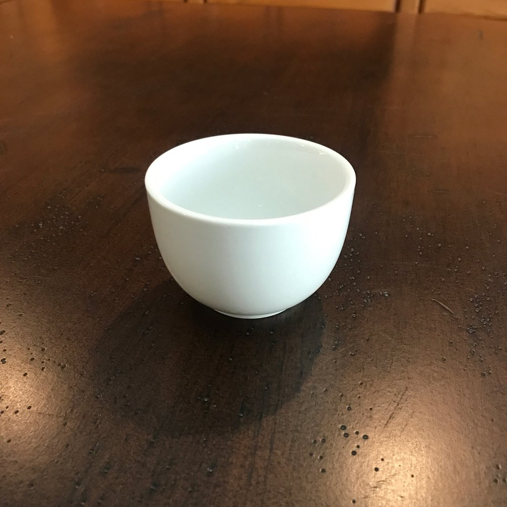 "White Pot de Cream    3"" round x 2"" tall. Appetizers, sauces, or small desserts."