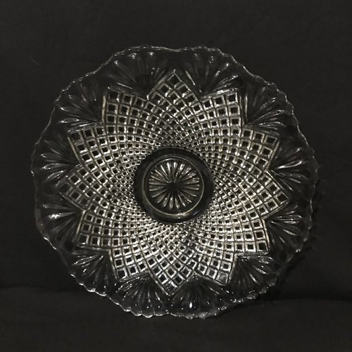 """Fan Pattern Serving Tray.    Companion to the larger fan pattern tray this cut glass tray is 16"""" round. Very heavy Art Deco styling."""