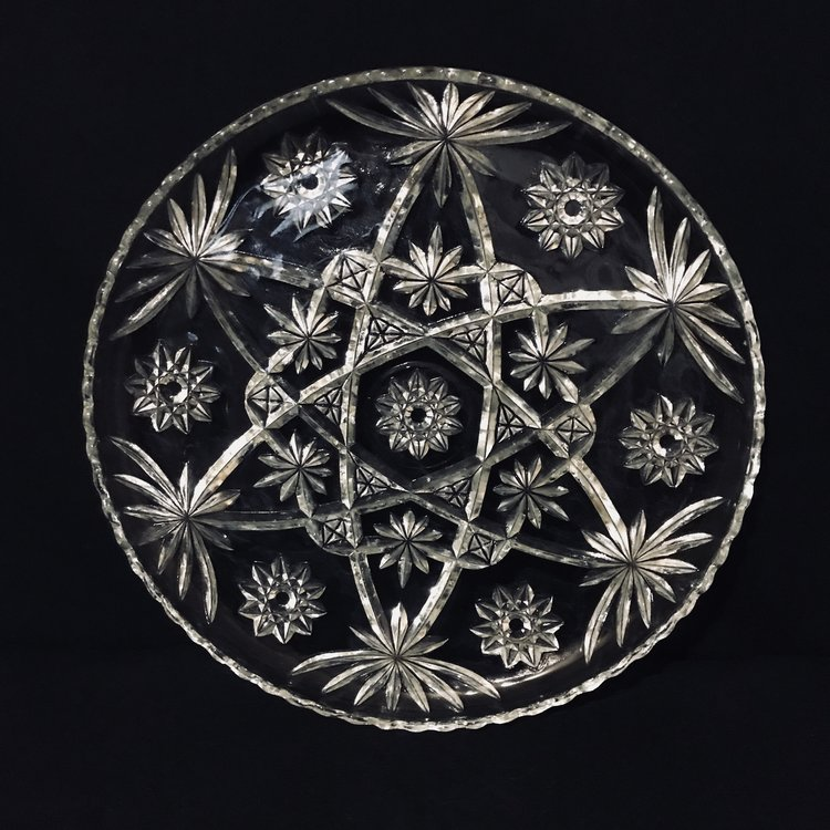 "Star Cut Glass Platter.    Vintage heavy cut glass platter with a star pattern. Ruffled edge. 13.75"" round.. Mid Century Modern."