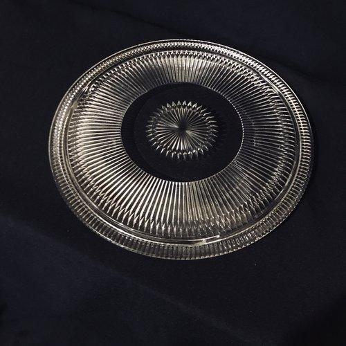 """Starburst Platter.    Round cut glass platter in a starburst pattern. 12.5"""" round.."""