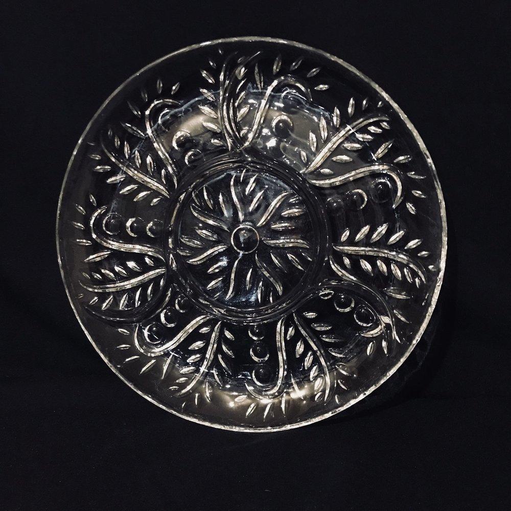 "Fern Relish Platter.    Cut glass relish platter with a swirling fern pattern. 11.5"" round."