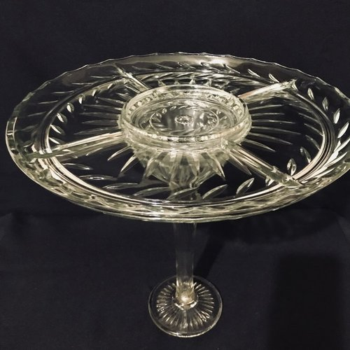 """Laurel Divided Pedestal Platter.    Vintage cut glass platter. Divided into four quadrants with a 5"""" round center. Laurel pattern. 13.5"""" round x 13.5"""" tall"""