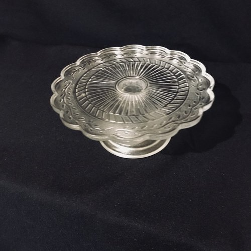 """Scalloped Pedestal Platter    Small scalloped edge cut glass pedestal platter. Frosted base. Vintage. 7.75"""" round x 3.5"""" tall."""