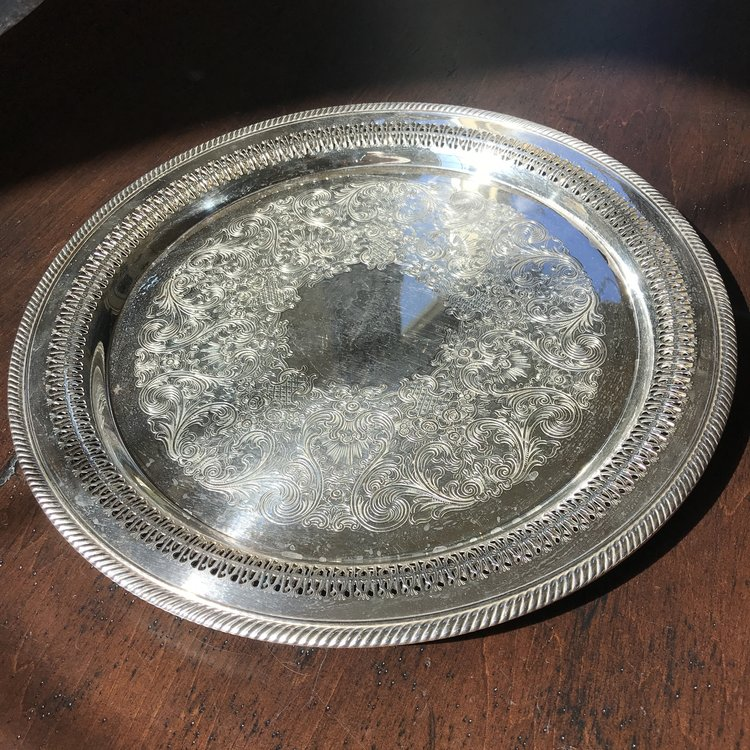"""Large Round Silver Tray    Vintage assorted silver plate serving trays. 15"""" round. Polished or Shabby Chic."""