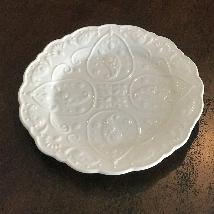 """White Patterned Platter   9"""" round embossed white porcelain platter."""