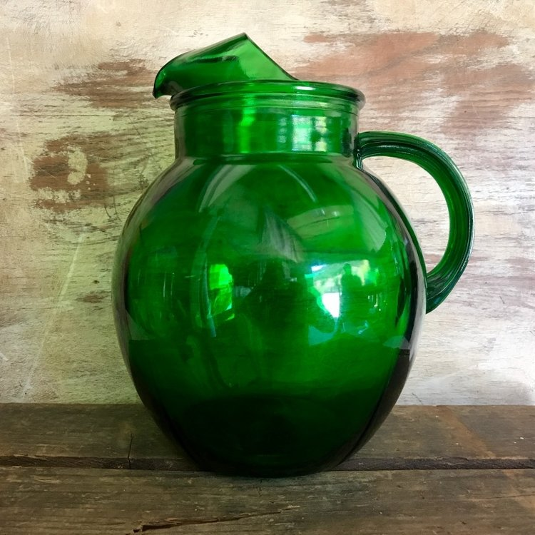 Green Glass Pitcher.    Vintage Anchor Hocking green mismatched pitchers.