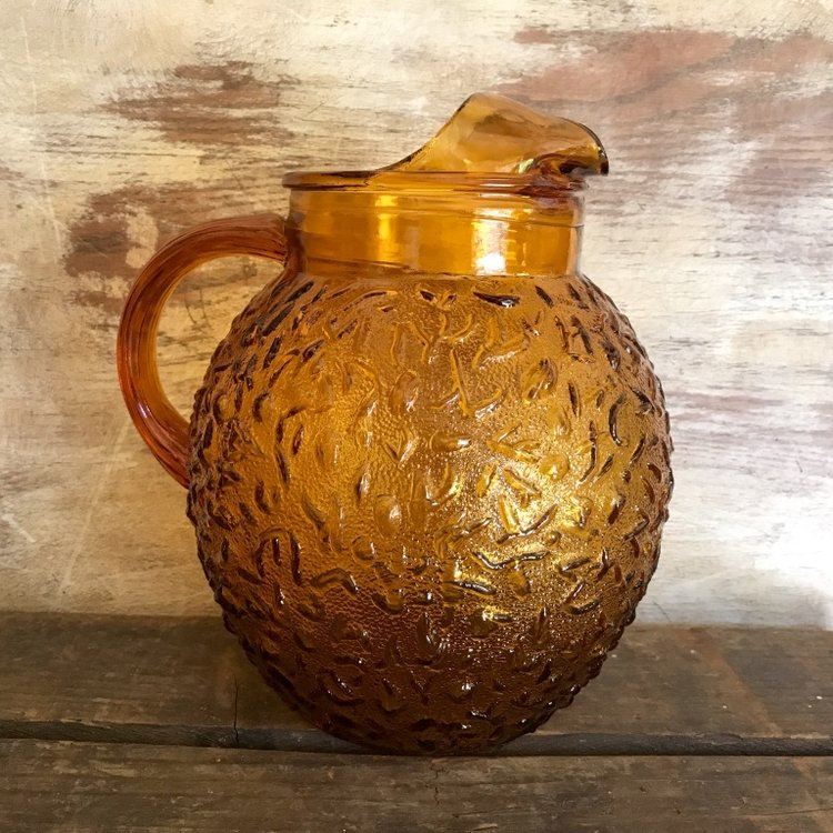 Amber Glass Pitcher.    Vintage amber glass pitchers, mismatched.