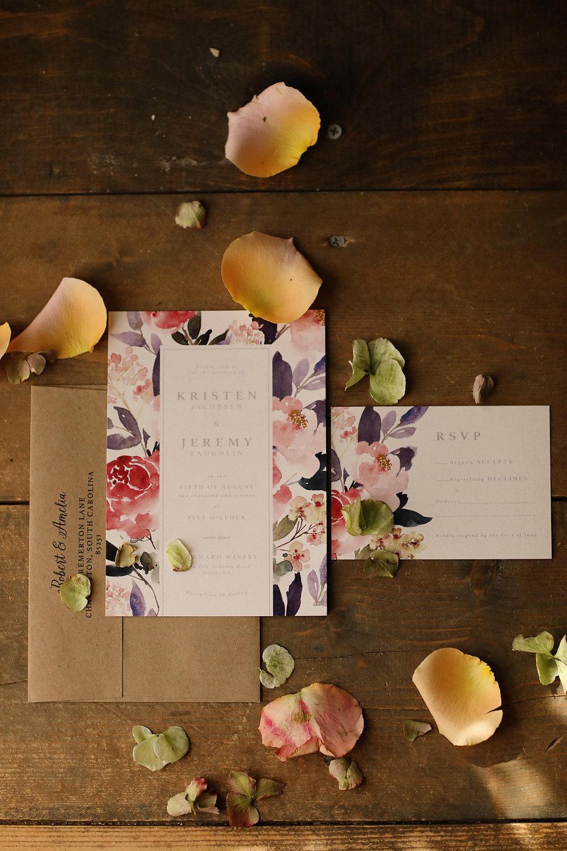 Ultra violet wedding invitations floral.