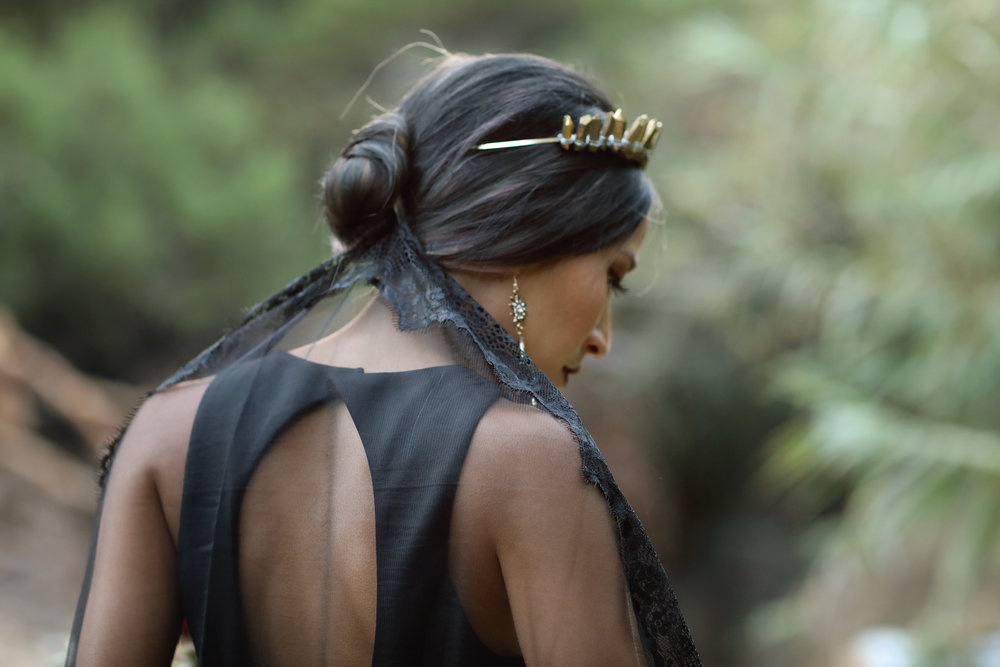 Black wedding dress, black veil, gold crown. Southern California Bride.